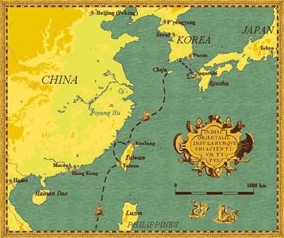 landkaart met de reis van de Sperwer in 1653